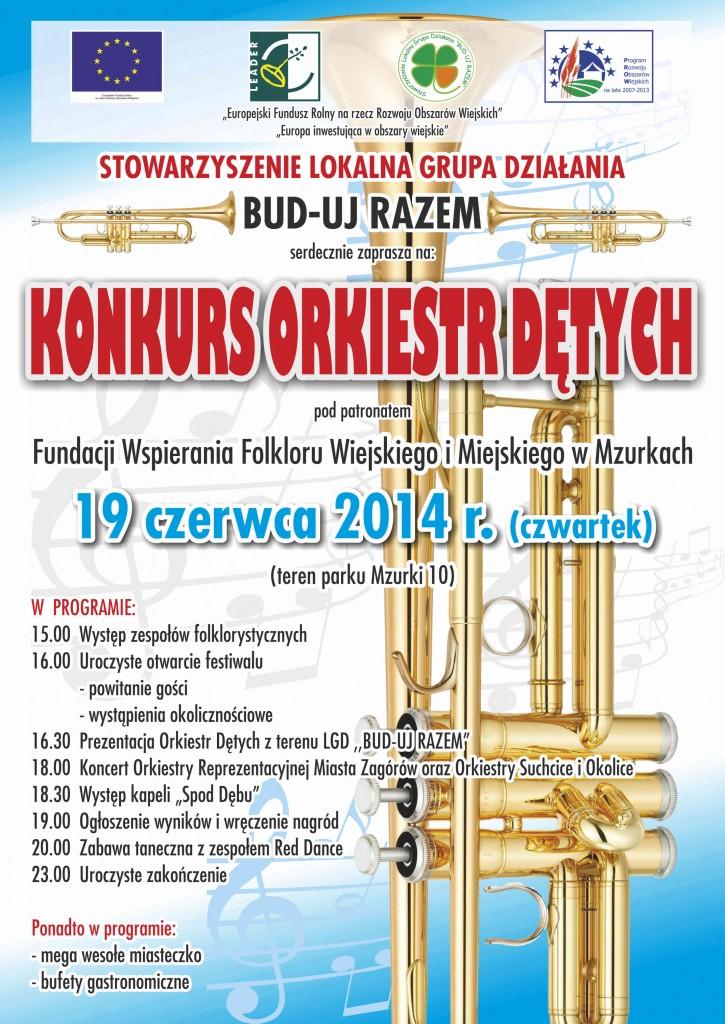 Plakat - Konkurs Orkiestr Dętych - 19 czerwca 2014 r.