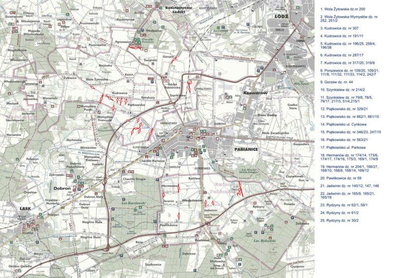 Mapa przedstawiająca miejsca gdzie zostanie wybudowanie oświetlenie wramach realizowanego projketu,